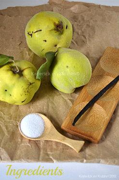 Ingrédients de la pâte de coing vanille et cannelle avec des coings sauvages - Kaderick en Kuizinn©