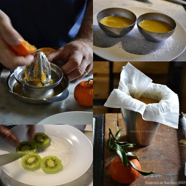 Recette du carpaccio fruits bio avec des kiwis, clémentines et fruits d'arbousier - Kaderick en Kuizinn©2012
