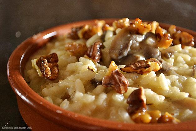 Recette du risotto champignons et noix croquantes épicées au gingembre, cumin et paprika - Kaderick en Kuizinn©
