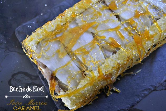 Recette buche de Noël aux poires, crème de marron à la vanille et fil de caramel - Kaderick en Kuizinn©2012