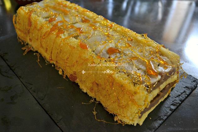Recette buche poires, crème de marron à la vanille et fil de caramel - Kaderick en Kuizinn©2012