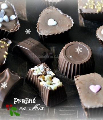 Recette des premiers chocolats fait maison avec des noix et du praliné pour des cadeaux gourmands - Kaderick en Kuizinn©2012