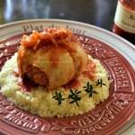 Recette paupiettes de poulet à la purée de piquillos, semoule, sauge et sarriette - Kaderick en Kuizinn©2012