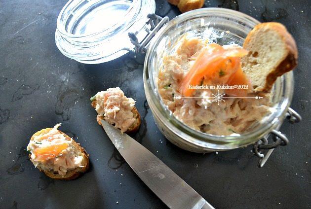 Recette facile des rillettes aux deux saumons et ciboulette pour une belle entrée de fêtes - Kaderick en Kuizinn©2012