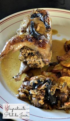 Recette des cailles farcies aux foies de volaille, mascarpone et sauce au cidre aux trompettes de la mort en plat du jour - Kaderick en Kuizinn©2013
