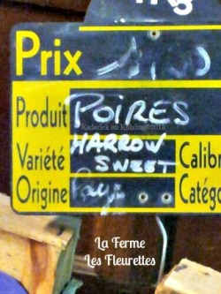 Ingredients poires Harrow sweet bio
