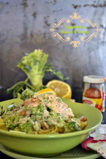 Recette de tagliatelle au saumon pimenté et brocolis bio à la vapeur avec une sauce au mascarpone - Kaderick en Kuizinn©2013