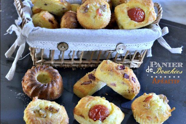 Recette du panier de bouchées salées à l'apéritif faites à base d'une pâte à madeleines garnie au chorizo, tomate et saumon - Kaderick en Kuizinn©2013