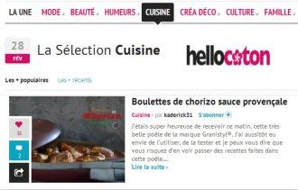 Selection Cuisine Hellocoton boulettes chorizo