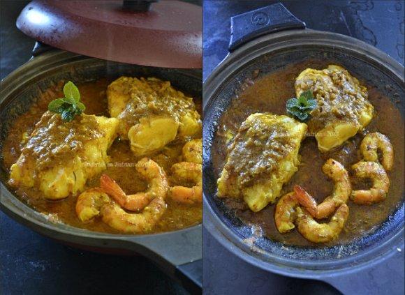 Recette dos de cabillaud pâte masala faites maison avec un mélange d'épices et crevettes