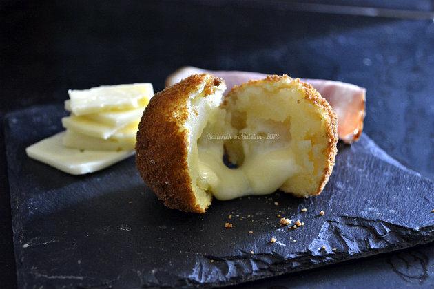 Recette cromesquis de pommes de terre au fromage à raclette pour le thème recette à base de fromage de Culino Versions Kaderick en Kuizinn©2013