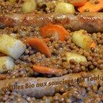 Recette des lentilles bio aux saucisses de Toulouse un plat qui réchauffe dans la Cuisine de Bistrot de Kaderick en Kuizinn©2013