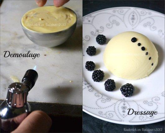 Démoulage sphere chocolat blanc, glace vanille, mûres sauvages, meringues - Kaderick en Kuizinn©2013
