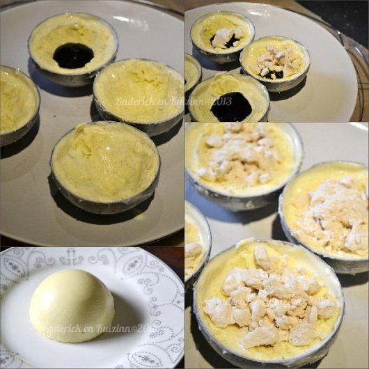 Recette sphere chocolat blanc, glace vanille, coulis de mûres et meringues, un vacherin individuel - Kaderick en Kuizinn©2013
