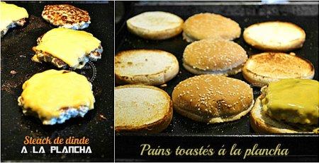 Recette express plancha hamburger de dinde avec une cuisson à la plancha à gaz