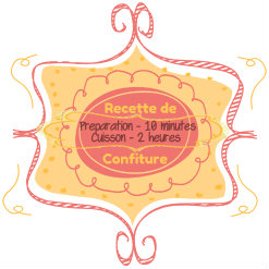 Badge orange et rose pour recette de confiture - Recette saine et bio