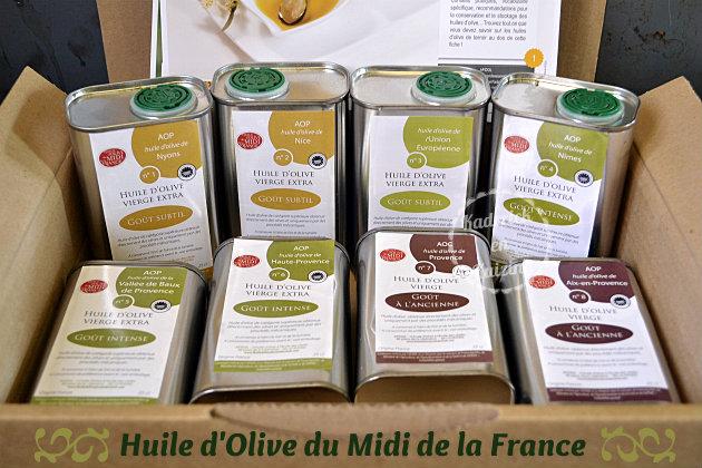 Huile d'olive du Midi de la France en petits bidons en fer d'une contenance de 25 cl en partenariat