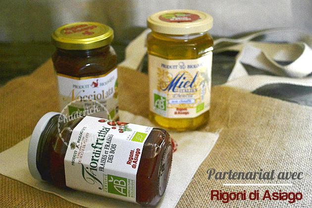 Partenariat avec la marque Rigoni di Asiago qui m'a envoyé 3 pots étiquetés AB dont la pâte Nocciolata