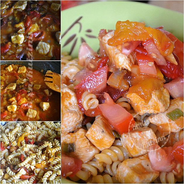Recette pâtes au sauté de dinde epices, paprika, poivron et tomates bio