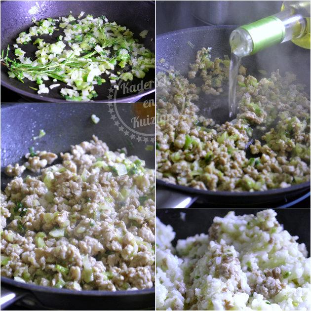 Préparation riz, courgette et saucisse de Toulouse - Recette de reste pour un repas rapide