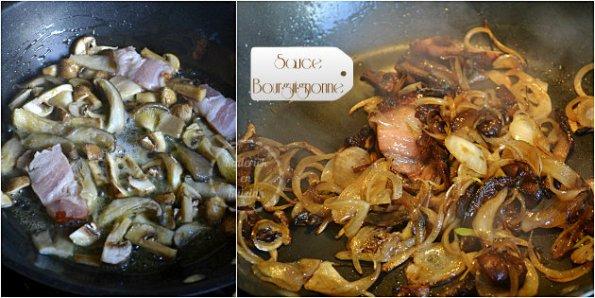 Une sauce bourguignonne faites maison avec des champignons et du vin rouge