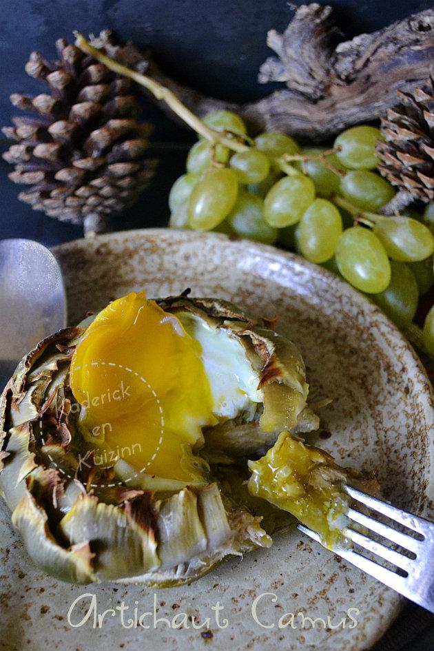 Dégustation fond d'artichaut camus trempé dans le jaune d'œuf bio