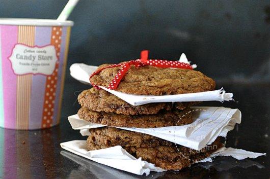 Préparation cookies US chocolat caramel