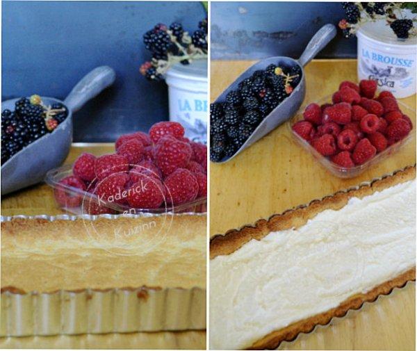 Préparation tarte garnie de brousse à la vanille, mûres et framboises