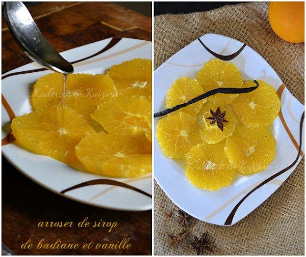 Arroser le carpaccio d'orange avec le sirop de badiane et vanille