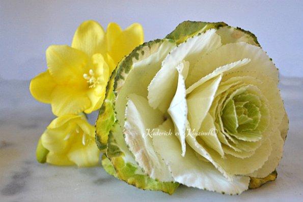 Bouquet de fleur avec chou fleur blanc et freesias jaune