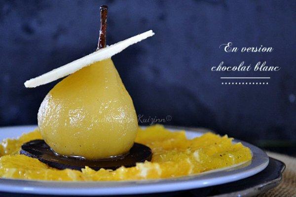 Carpaccio d'oranges à la badiane, poire pochée et chocolat blanc