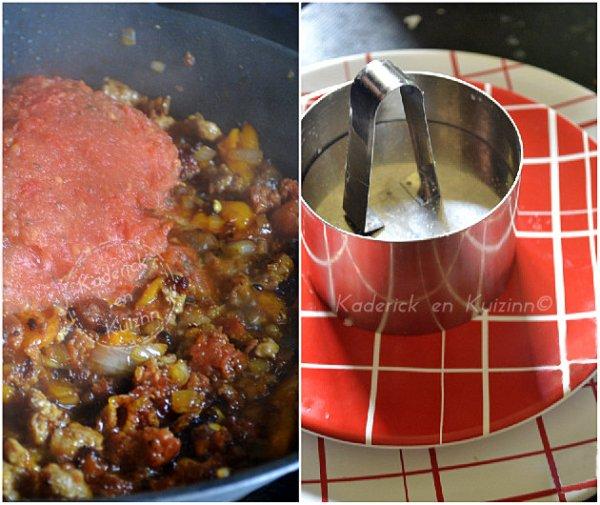 Cuisson et cerclage du riz à la bolognaise de chorizo
