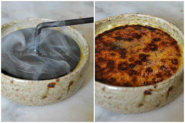 Faire une croûte caramélisée sur une crème catalane avec fer à brûler
