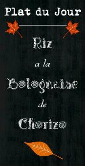 Logo de la recette de riz à la bolognaise de chorizo