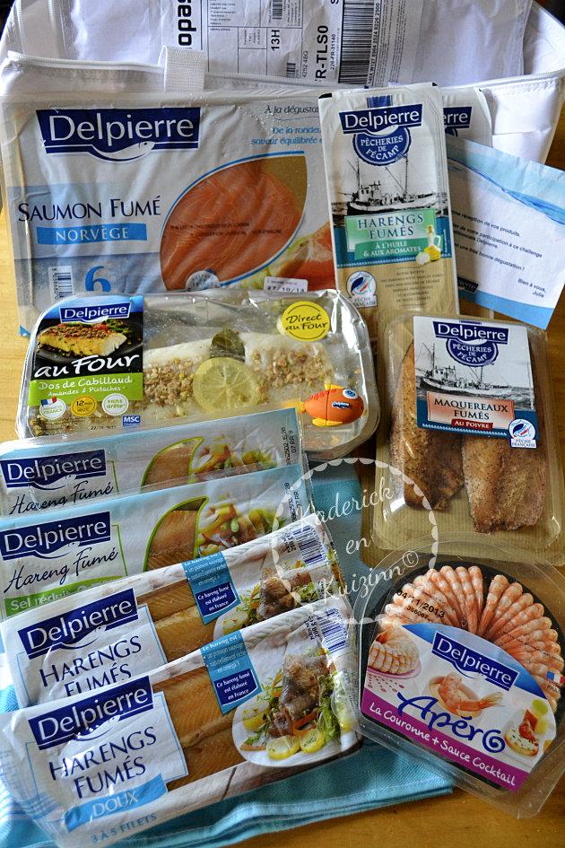 Partenariat Delpierre, produits de la box de mer avec saumon, hareng