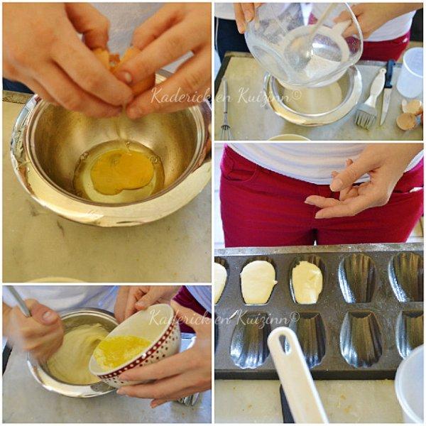 Préparation de pâte à madeleine gouter fleur d'oranger recette pour enfants