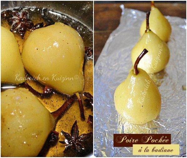 Préparation des poires pochées au sirop de badiane et vanille