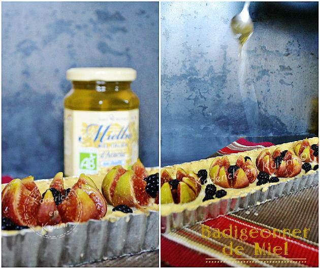 Préparation tarte aux figues et mûres à la brousse au miel d'acacia