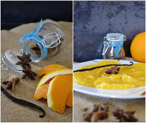 Présentation carpaccio d'orange avec une gousse de vanille et étoile de badiane