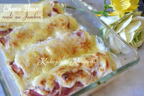 Recette du gratin choux fleur roulé au jambon et sauce béchamel