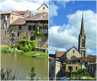 Village en bord de rivière et église de saint antonin noble val