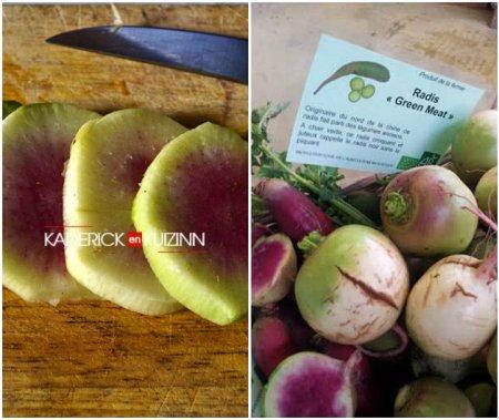 Composition de la recette soupe potimarron avec du radis green meat bio - légumes bio