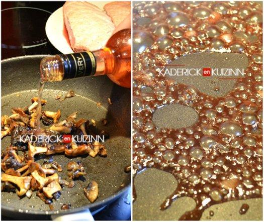 magret cepes - Cuisson des champignons et réduction de vin rosé à la framboise