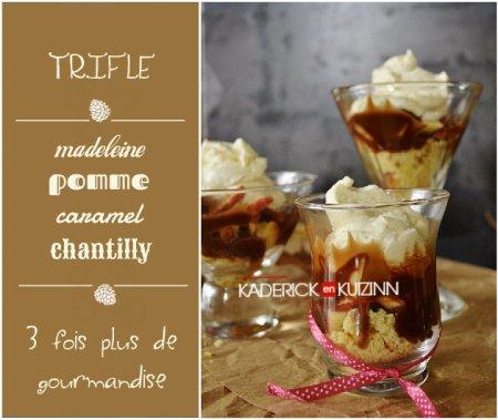 Préparation du trifle pomme, madeleine, caramel et chantilly - dessert