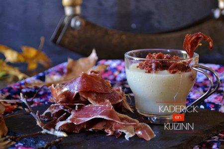 Recette verrines de velouté topinambours et crumble de jambon bellota Oliveras