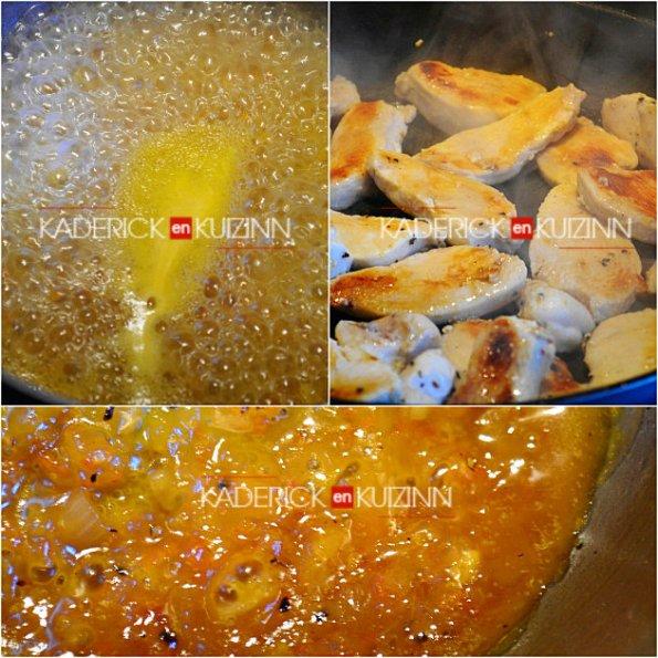Cuisson du poulet et réduction à sec des agrumes bio - recette de cuisine acidulée