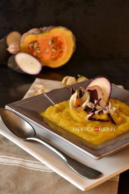 Dégustation soupe detox au radis noir, courge, carotte, navet, magret séché - recette légumes bio