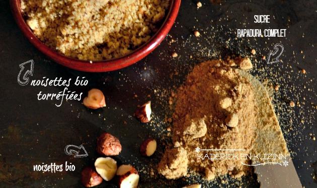 Ingrédients cake aux noisettes torréfiées et sucre rapadura complet