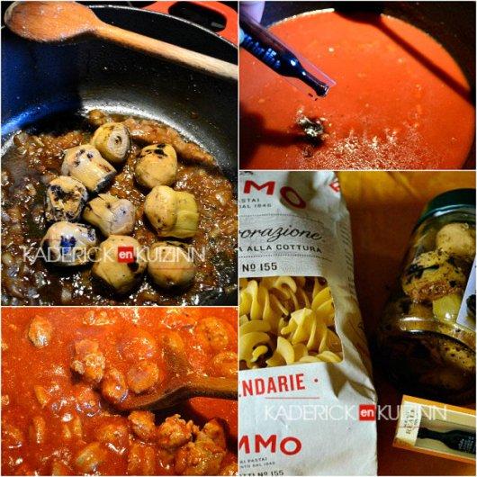 Ingrédients pâtes, artichauts, saucisse, vinaigre balsamique et tomate - recette italienne