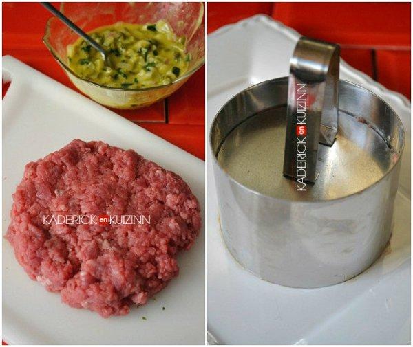 Montage du tartare de bœuf, câpres, cornichons à l'emporte pièce rond - recette du fait maison